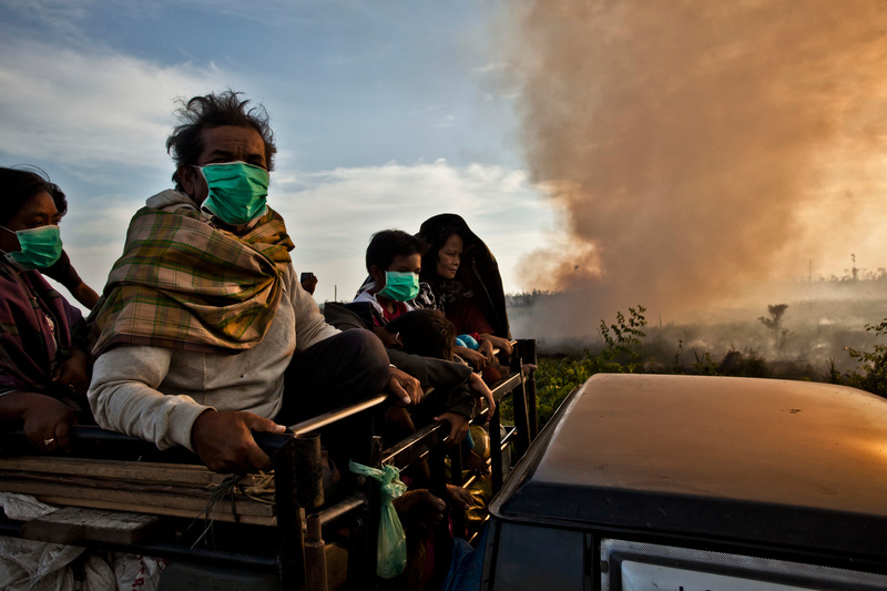 A truck carries villagers who wear masks to protect themselves from the air pollution. The truck passes through smoke rising from fires on recently cleared peatland in the PT Rokan Adiraya Plantation oil palm plantation near Sontang village in Rokan Hulu, Riau, Sumatra.