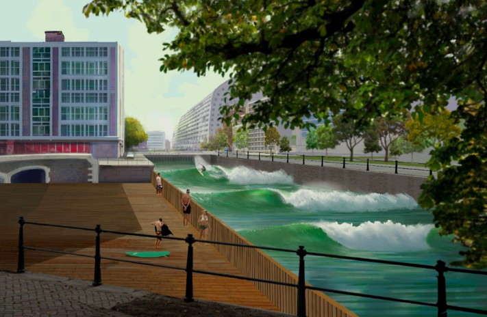 La technologie de Surf Loch permettra en 2017 d'instaurer une vague artificielle dans un canal à Rotterdam aux Pays-Bas. Une inspiration pour le Canal Lachine? Crédit: Surf Loch LLC