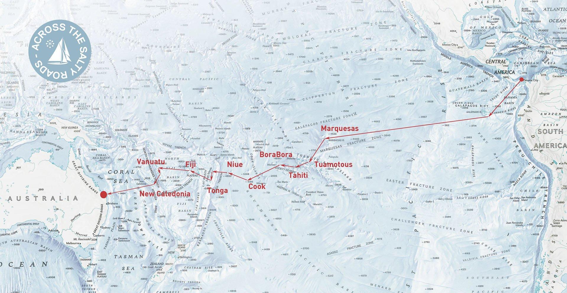 Itinéraire du Panama à l'Australie