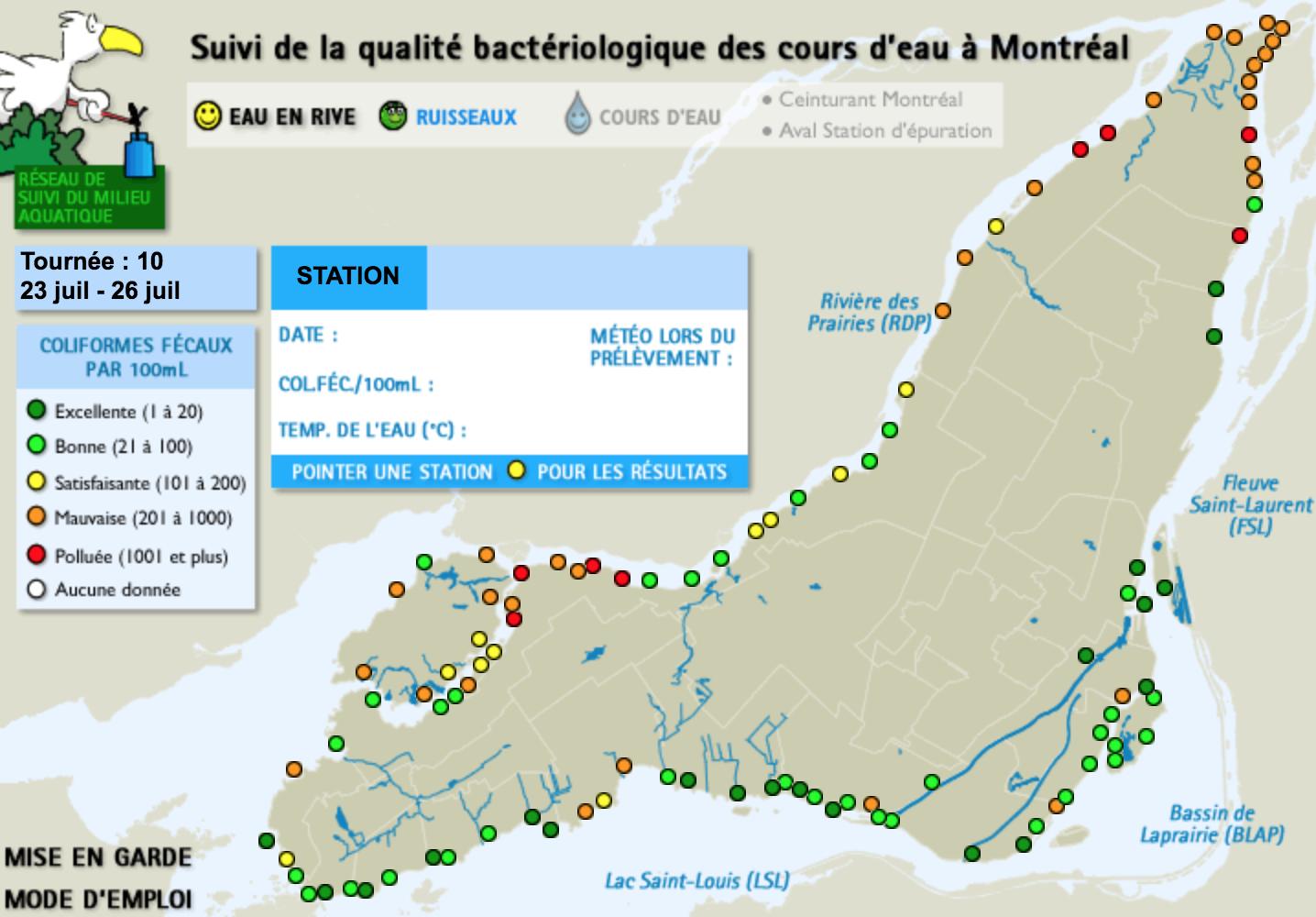 Suivi de la qualité de l'eau du fleuve à Montréal